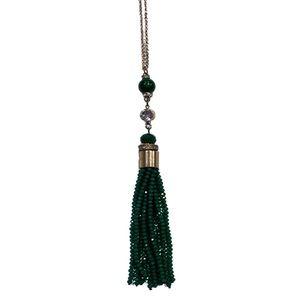 2/$10 💕 Aldo Green Gold CZ Beaded Tassel Necklace